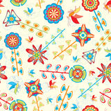 Fly and flowers pattern Stock Image