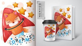 Fly fox - mockup for your idea. Vector eps 10 vector illustration