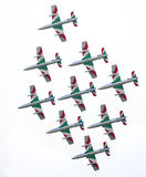 The fly by of Frecce Tricolori. VARESE, ITALY - MAY 14: The fly by of Frecce Tricolori (Tricolour Arrows) acrobatic aircraft team during the Varese Airshow on Royalty Free Stock Photo