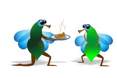 Fly. Funny illustration of proposal between flies Royalty Free Stock Photos