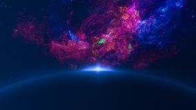 Astronomy. Fly through galaxy. Space background