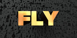 Fly - Gold text on black background - 3D rendered royalty free stock picture Stock Photo