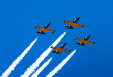 Fly groups planes in sky. Air show.  stock image
