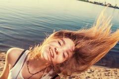 Fly hair sandy Stock Photo