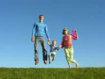 Fly happy family on blue sky 2. Green grass Royalty Free Stock Image