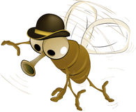 Fly in a hat. Animals fedora insects parasitic royalty free illustration