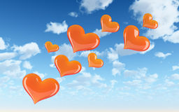 Fly hearts with sky Royalty Free Stock Image
