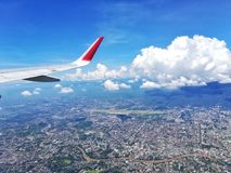 Fly high. City in high angle view Stock Photo