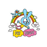 Fly high inspirational poster design with cute bunny character Royalty Free Stock Photography