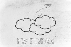 Fly higher illustration with paper airplane, metaphor of success Royalty Free Stock Photography
