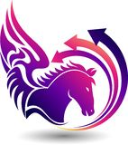 Fly horse logo. Illustration art of a fly horse logo with isolated background Vector Illustration