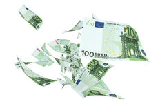 Fly Hundred euro banknotes. Close-up (isolated on white and clipping path royalty free illustration