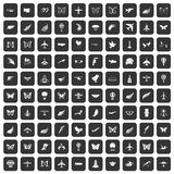 100 fly icons set black. 100 fly icons set in black color isolated vector illustration Royalty Free Illustration