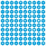 100 fly icons set blue. 100 fly icons set in blue hexagon isolated vector illustration stock illustration