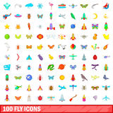 100 fly icons set, cartoon style. 100 fly icons set in cartoon style for any design vector illustration Stock Photography