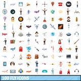 100 fly icons set, cartoon style. 100 fly icons set in cartoon style for any design vector illustration Royalty Free Stock Photography