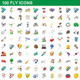 100 fly icons set, cartoon style Stock Image