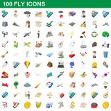 100 fly icons set, cartoon style. 100 fly icons set in cartoon style for any design illustration vector illustration