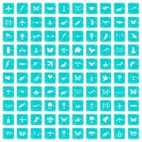 100 fly icons set grunge blue. 100 fly icons set in grunge style blue color isolated on white background vector illustration Vector Illustration