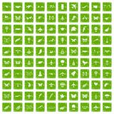 100 fly icons set grunge green. 100 fly icons set in grunge style green color isolated on white background vector illustration Stock Image