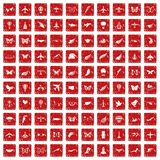 100 fly icons set grunge red. 100 fly icons set in grunge style red color isolated on white background vector illustration Royalty Free Stock Photo