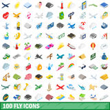 100 fly icons set, isometric 3d style. 100 fly icons set in isometric 3d style for any design vector illustration Stock Photo
