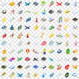 100 fly icons set, isometric 3d style. 100 fly icons set in isometric 3d style for any design vector illustration Royalty Free Stock Photo