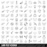 100 fly icons set, outline style Royalty Free Stock Photography