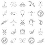 Fly icons set, outline style. Fly icons set. Outline set of 25 fly vector icons for web isolated on white background Stock Photos