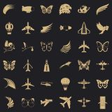Fly icons set, simle style. Fly icons set. Simple style of 36 fly vector icons for web for any design stock illustration