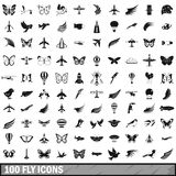 100 fly icons set, simple style Stock Photo