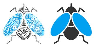 Fly Insect Mosaic of Repair Tools stock illustration