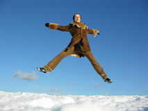 Fly jump girl. winter. 2 Stock Images