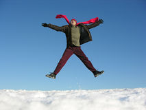 Fly jump happy man. winter. Stock Photo