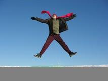 Fly jump happy man. winter. stock photo