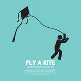 Fly a Kite Black Graphic Symbol Royalty Free Stock Images