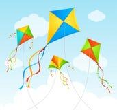 Fly Kite Summer Background. Vector Stock Photo