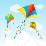 Fly Kite Summer Background. Vector Royalty Free Stock Photos
