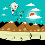 Fly a Kite. Vector Cartoon with People on Meadow. Royalty Free Stock Photography