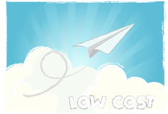 Fly low cost vector. Paper airplane flying in the sky, low cost airlines and cheap tickets + vector eps file Stock Image