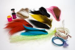 Fly making materials stock images