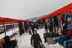 Fly marknaden i vinter Arkivfoton