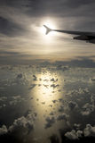 Fly Me High. Airplane in the Sky at Sunset Stock Photography