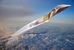Fly money. Flying money in the sky Stock Photos