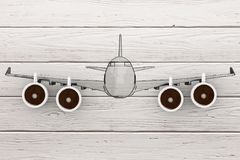 Fly in New Day Concept. Modern Airplane with Coffee Cups as Jet. Engine on a wooden table. 3d Rendering Royalty Free Stock Photography
