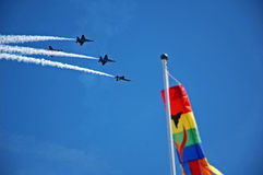 Fly Over. Blue Angels on a fly over, SeaFair Stock Photo