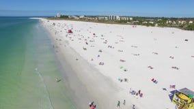 Fly over beach in Siesta Key, Florida. stock video