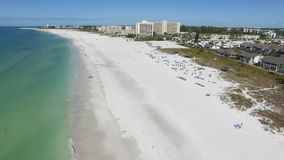Fly over beach in Siesta Key, Florida. stock video footage