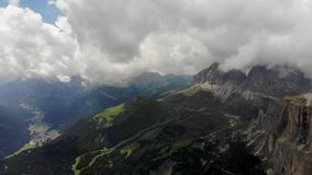 Fly over the cliff view. In beautiful alps scenery stock footage