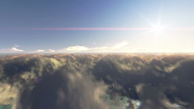 Fly over clouds and blue sky. Fly over clouds 3D animation with sun in front in blue sky stock video footage